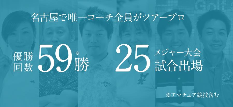 名古屋ゴルフクリニックでは、コーチが全員ツアープロです。